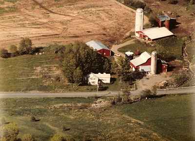 aerial shot of the farm circa 1973